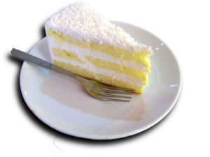 A slice of coconut cake by Tony Oxborrow